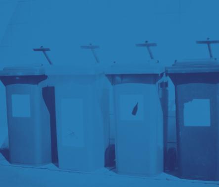 Blue recycling bins